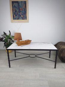 Table basse marbre fer forgé années 60