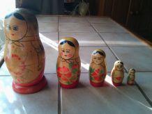 5 Poupées russes Matriochkas des années 70