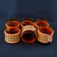 Lot de 6 verres ambrés en rotin et feutrine orange 1970