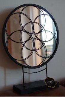 Miroir acier noir - déco - neuf