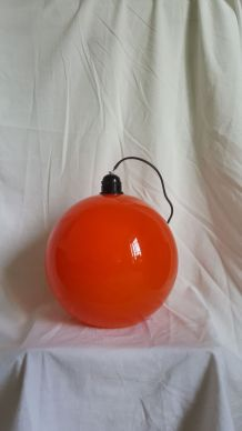 Suspension vintage orange en verre