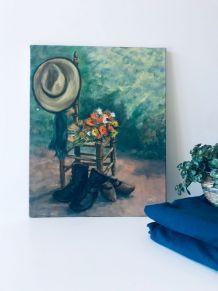 Huile sur toile vintage, scène à la campagne