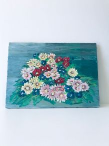 Huile sur toile vintage petites fleurs