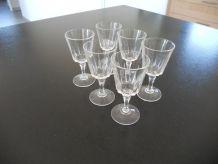 6 verres à liqueur en cristal