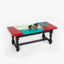 Table basse en chêne massif colorée design