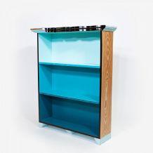 Étagère bibliothèque 3 étages bois massif camaïeu de bleus