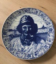 Assiette en faïence estampillée Delfts Blauw