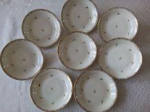 8 assiettes creuses Porcelaine de Limoges. Raynaud&Cie 1961