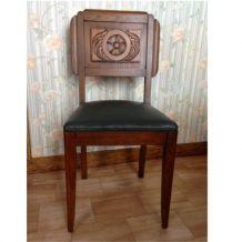 6 chaises art déco en bois et cuir vert