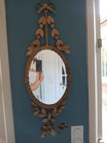 Miroir ovale Métal doré