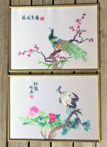 Paire de tableaux Paon / Couple de grues (soie brodée)