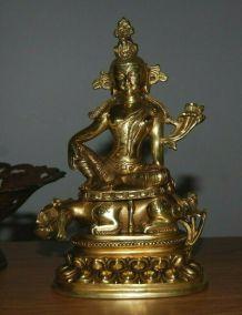 Statue Bouddha sur Chimère laiton bronze Tibet