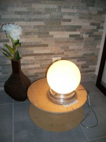 Plafonnier/applique opaline blanche transformé en lampe