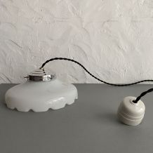 LAMPE ANCIENNE SUSPENSION EN OPALINE VINTAGE