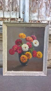 Tableau bouquet de fleurs. Sur toile