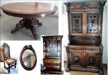 Salle à manger Henri II (table, buffets, miroir)