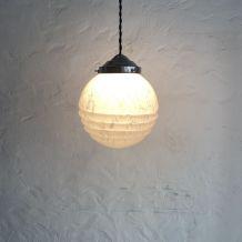 ANCIENNE LAMPE SUSPENSION EN VERRE DE CLICHY 16 cm