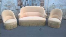 Salon canapé et fauteuils crapaud