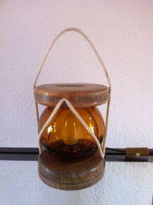 Lampe vintage bois et boule marine en verre