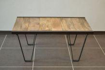 Table basse industrielle métal et bois massif