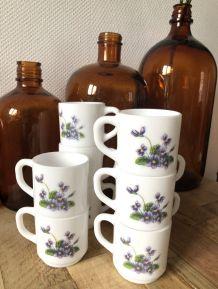 10 Tasses violette Arcopal vintage