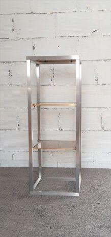 Colonne étagères vitrées aluminium et laiton vintage années