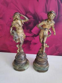 """statuettes """"le sauveteur"""" et """"l'épave"""" par Auguste Moreau"""