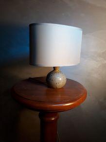 petit lampe de chevet  pied terre cuite vernisser 1970 avec