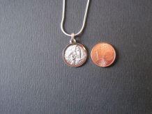 Collier pendentif médaille sainte vierge chaîne 55 cm argent