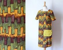 Vintage 1950 robe de jour noeud imprimé jaune brun vert