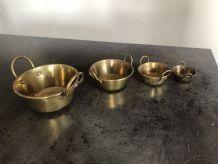 Ensemble de 4 bassines miniatures en laiton