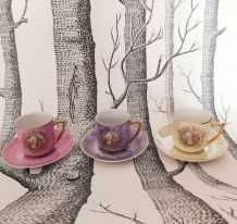 Vintage lot 3 tasses à café et petites assiettes pastel