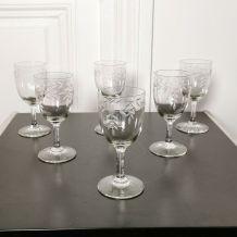 6 verres en cristal gravé