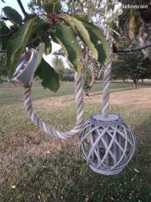 Suspension corde + boule osier