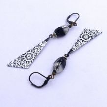 Boucles d'oreilles métal peint, verre, rondelles métal