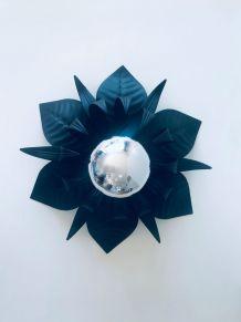Plafonnier Italien fleurs en métal noir