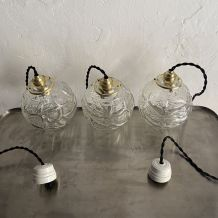 LOT 3 LAMPES SUSPENSIONS VERRE VINTAGE