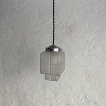 ANCIENNE LAMPE SUSPENSION ART-DECO SKYSCRAPER