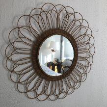 Immense miroir soleil fleur rotin vintage 1960 - 88 cm