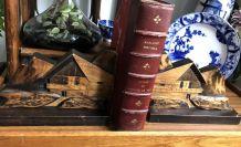 Serre-livres Décor Alpes -vintage 1976