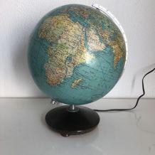 Globe terrestre verre allemand Colomb vintage 1960 - 34 cm
