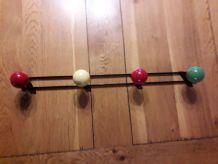 Porte manteaux 4 patères boules bois vintage 1960 - 60 cm