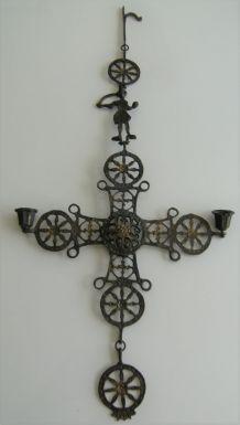 croix orthodoxe laiton religion années 30 vintage rétro