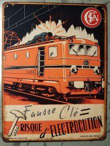 Plaque métal vintage Train