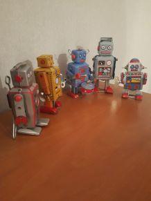lot robots fer blanc réèdition 80s  vintage, deco, avec leu
