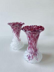 Paire de vases anciens en verre de Clichy