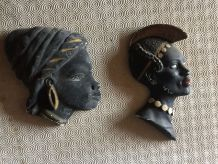 BUSTE EN PLATRE FEMME AFRICAINE X  2