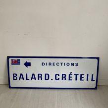 """Plaque de métro parisien """"Balard - Créteil"""""""