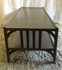 Table basse en bois massif peint – style bistrot