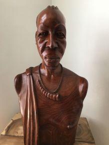 Art Africain Buste Homme bois massif
